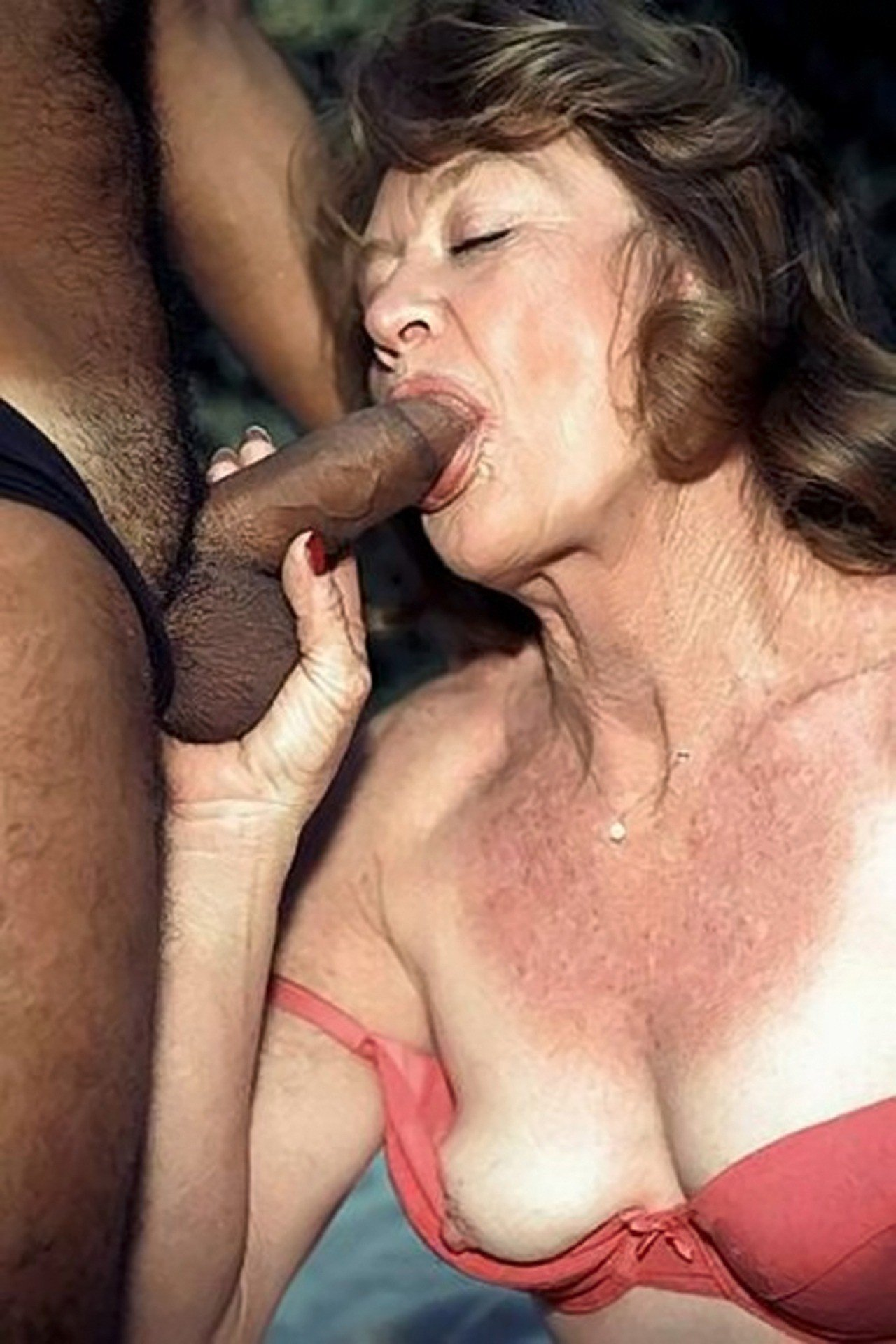 See and save as older lady with big cans enjoys sucking cock porn pict